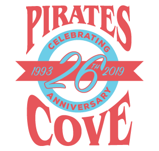 Pirates Cove Tropical Bar and Grill 26th Anniversary Logo